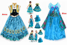 Frozen Fever Princess Queen New Elsa Anna Cosplay Costume Fancy Party Dress 3-8Y