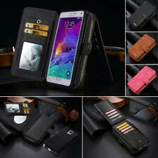 Multifunction Genuine Leather Wallet Case & Zipper Card Slot for Samsung Galaxy