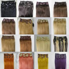 "AAA+ Womens 15"" Medium Remy 15Clips In Human Hair Extensions Straight Hair 75gr"