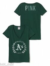 1xNWT Victoria's Secret Oakland Athletics PINK V-Neck Tee S M