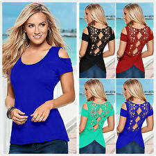 Sexy Women Summer Short Sleeve Cut Out Lace Splice Casual Blouse T-shirt Top Tee