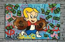 Alec monopoly Rich Hand Painted Abstract Canvas Oil Painting Wall Art 24x40inch