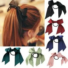 Fashion Bowknot Satin Ribbon Women Girl Ponytail Holder Elastic Hair Band Rope