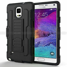 Rugged Hybrid Hard Clip Rubber Cover Stand Case For Samsung Galaxy Note 4 N9100
