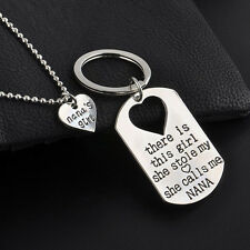 1Set Fashion Family Gifts Heart Love Key Ring Necklace Daddy Daughter Dad Girls