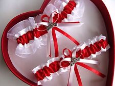 NEW Gorgeous Wedding Garter Red White Prom Sexy HOT Motorcycle Biker*