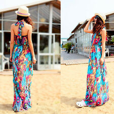 Women Ladies Boho Maxi Sexy Dress Evening Party Long Beach Dress Halter V-Neck