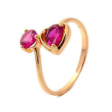 Pink Love Heart 18K Yellow Gold Plated Garnet Round CZ Promise Love Band Ring