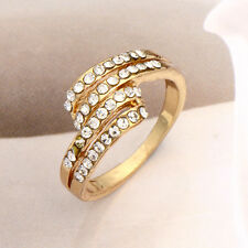 Fashion Classy Womens Gold Filled Clear CZ Band Love Ring Size 5-8.5