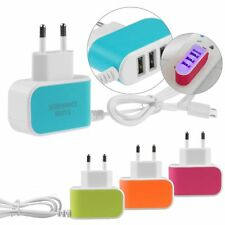 3-Port USB Wall Home Travel AC LED Power Charger Adapter 3.1A w/ Micro USB Cable