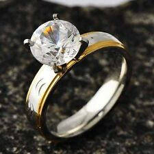 fashion jewelry Clear CZ Womens Gold Filled Stainless Steel Band Ring SZ 6 7 8 9