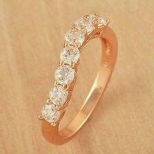 Stylish 9K Rose Gold Filled Flawless CZ Wave Ring size 6 7 8 9 Free Shipping