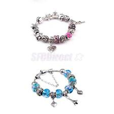 Fashion DIY Silver European Heart Fish Beads Rhinestone Women Lady Bracelet