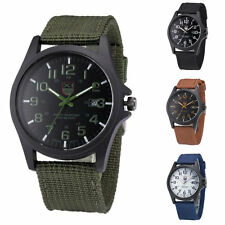 Casual Mens Watch Date Canvas Band Military Sports Quartz Army Wrist Watches