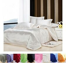 Solid Satin Single Queen King Size Bed Pillowcases Duver Cover Quilt Cover Set