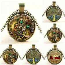 2016 Fashion Tree of Life Glass Cabochon Bronze Chain Pendant Necklace Jewelry T