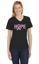 Hope Breast Cancer Awareness Pink Ribbon V-Neck Women T-Shirt Support