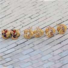 New 18K Yellow Gold Filled Rainbow crystal Crystal Womens Flower Stud Earrings