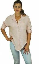 Women Collar Button Down Shirt Long Sleeve Loose Tops Casual Blouse MADE IN LA