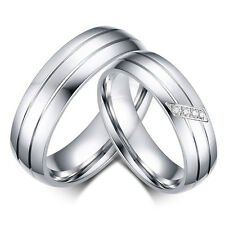 Wedding Ring Set Engagement Couple Stainless Steel Anniversary Band Ring Beauty