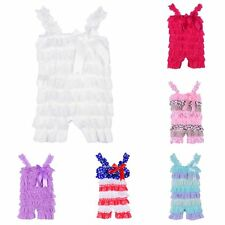 Baby Toddler Girl's Ruffle Lace Petti Sling Rompers Jumpsuit Photo Dress Summer