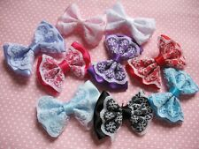 "20 Satin 2"" Sewn Ribbon Lace Bows Flowers Wedding Appliques-U PICK R053-1"