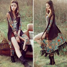 Women Tassel Ethnic style Chiffon Long Flower Cardigan See-through Tops Blouse