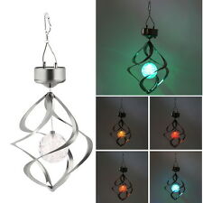 Solar Powered LED Wind Chime Wind Spinner Windchime Outdoor Garden Courtyard FE
