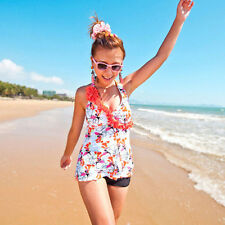 Plus Size 2PC Girl Floral Halter Tankini Set Top Flat Shorts Swimwear Swimdress