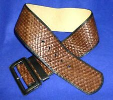 "29-30 XS NEW BANANA REPUBLIC WOVEN LEATHER 3""WIDE WOMENS BELT BROWN BLACK"