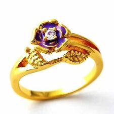Purple Flower Yellow gold filled CZ vintage promise love rings Size 8 9 10 12