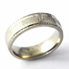 Vintage Womens Mens Stainless Steel Carve Stripe mystic Ring Size 8 9 10 11 12