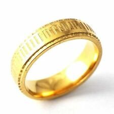 Vintage Yellow Gold Filled Womens Mens Carve Stripe Band Ring Size 8 9 10 11 12