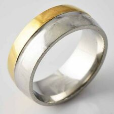 Eternity Mens Stainless Steel Half Of Gold Plated love Band Rings Size 8-11