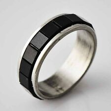 Vintage Womens Stainless Steel Black Square Piece love Band Ring Size 6 7 8 9