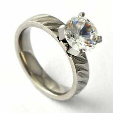 vintage Stainless Steel Wedding CZ Engagement wedding Band Ring Size 6-9