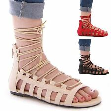 LADIES WOMENS GLADIATOR LACE UP FLAT SUMMER SANDALS HOLIDAY CASUAL BEACH SHOES