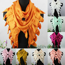 Fashion Women 3D Flower Pearls Scarf Rabbit Hair Trim Tassel Triangle Shawl Wrap