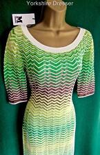 New MISSONI Green Yellow Stripe Crochet Knit Knee-length Dress 12 14 *Authentic*