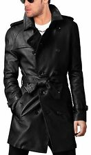 ~VINTAGE~ New Mens Leather Motorcycle Long Trench Coat Winter Jacket Overcoat