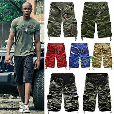 Mens Casual Summer Army Combat Camo Work Cargo Overall Shorts Pants 3/4 Trousers