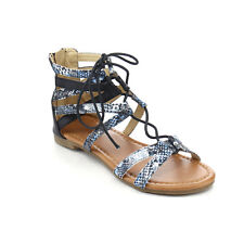JELLY BEANS Girl's Back Zip Front Lace Up Strappy Gladiator Flat Ankle Sandals