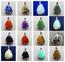 Mixed Gemstone Wire Wrap Teardrop Pendant Beads Choose 1pcs Or 16pcs