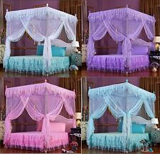 Lace Flower 4 Corner Post Bedding Canopy Mosquito Netting Full Queen Twin Sizes