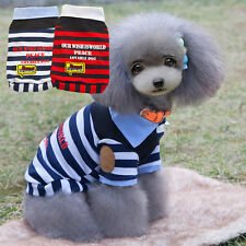 New Small Dog Pet Shirt Polo Striped Vest Shirt Cat Puppy Summer Clothes Apparel