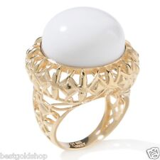 Technibond Cabochon White Agate Gemstone Ring 14K Yellow Gold Clad Silver 925