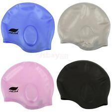 Silicone Unisex Adult Waterproof Swimming Pool Bath Cap Hat One Size Fits All