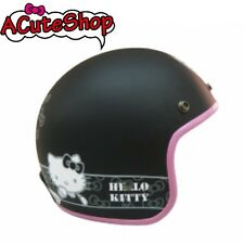 Hello Kitty Motorcycle 3/4 Helmet RETRO Ribbon Black Sanrio