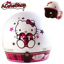 Hello Kitty Motorcycle 3/4 Helmet RETRO 76 Checkered White Sanrio