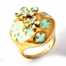 Women Teal Enamel Flower 14K gold filled Clear CZ cocktail Band Ring Size 7-9